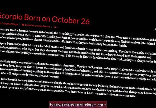 26 באוקטובר פרופיל אסטרולוגיה ליום הולדת